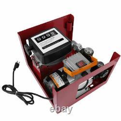 110V Electric Fuel Pump Diesel Oil Transfer Pump withMeter, 13ft Hose & Nozzle