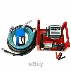12V 155W Electric Diesel Oil Fuel Transfer Pump & Mechanical Meter Hose Nozzle