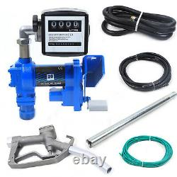 12V Fuel Transfer Pump Diesel Gasoline Anti-Explosive with Oil Meter New 20GPM US