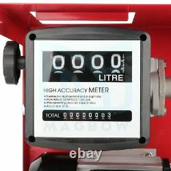 12v Oil Pump Electric Gas Transfer Automatic Oil Fuel Diesel Withmeter Gallon Die