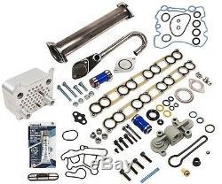 2003-10 Ford 6.0L V8 Diesel EGR Delete Kit & Oil Cooler + Regulator Blue Spring