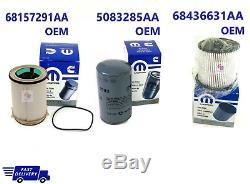 2019-20 Dodge Ram 6.7l Fuel Filters & Oil Filter Combo Oem 68157291aa 68436631aa
