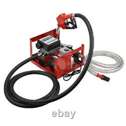 220V Electric Oil Fuel Diesel Gas Transfer Pump with Meter & 2/4m Hoses & Nozzle