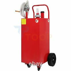 30 Gallon Gas Caddy 8FT Hose Fuel Diesel Transfer Tank Rotary Pump Oil Container