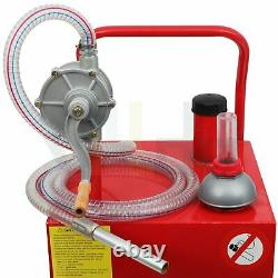 30 Gallon Gas Caddy Fuel Diesel Transfer Tank Rotary Pump Oil Container 8FT Hose