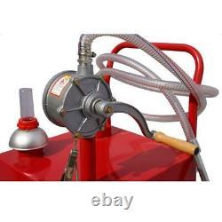 30 Gallon Gas Oil Diesel Fluid Caddy Transfer Tank with Rotary Pump 8 Feet Hose US