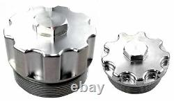 Billet Aluminum Fuel Filter and Oil Filter Cap Set-Ford Powerstroke 6.0L 2003-20