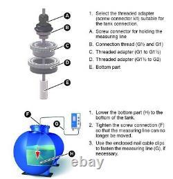 Digital Water Fuel Oil Diesel Tank Level Gauge Monitor Meter Tank Up To 4m Deep