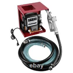Electric Oil Diesel Fuel Transfer Pump Assembly With Meter 13' Hose Manual Nozzle