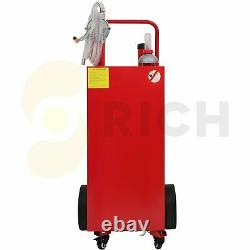 Gas Fuel Diesel Caddy 30 Gallon Transfer Tank Rotary Pump Oil Container 8FT Hose