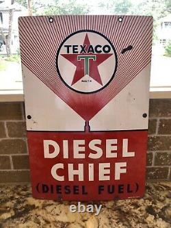 Original 1956 Texaco Diesel Chief Pump Plate Gas & Oil Sign 18X12 Rare
