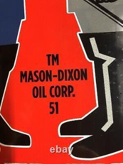 Vintage Dated 1951 Mason Dixon Diesel Fuel 14.5 Porcelain Metal Gas Oil Sign